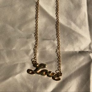 """Love"" gold plated necklace"